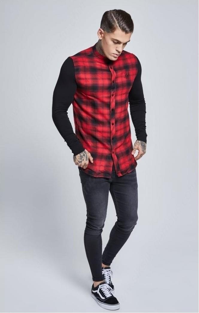 Siksilk Contrast Long Sleeve Tartan Tees – Red & Black Mens - -2