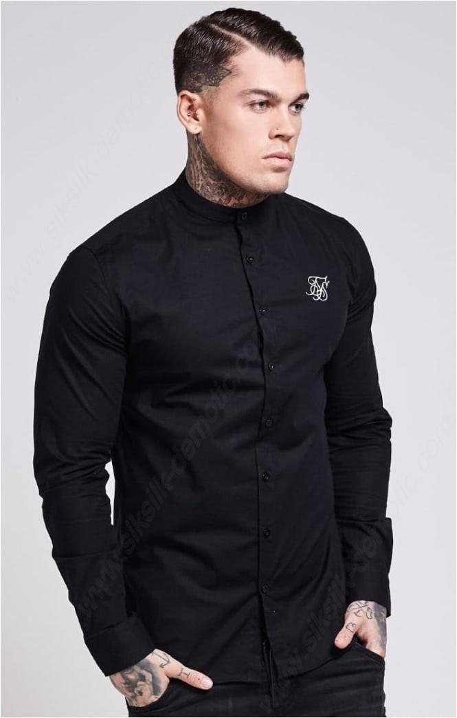 Siksilk Long Sleeve Oxford Stretch Fit Shirt – Jet Black Mens - -0