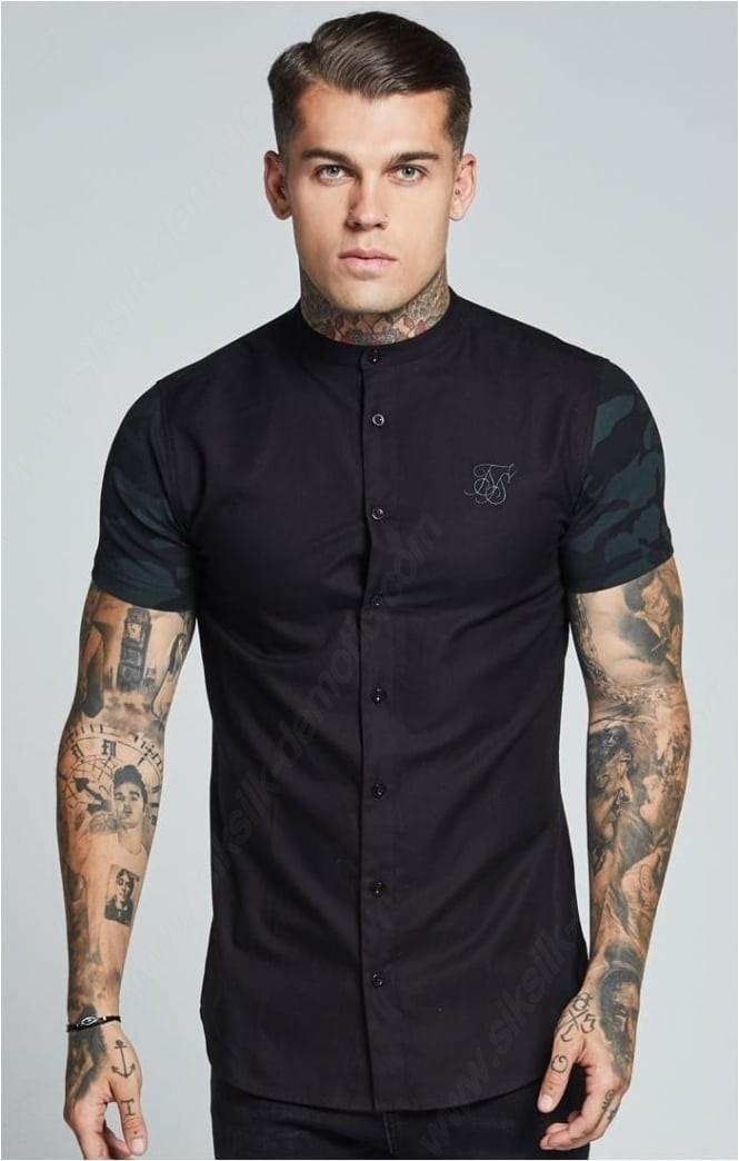 Siksilk Contrast S/s Oxford Shirts - Black & Camo Mens - -0
