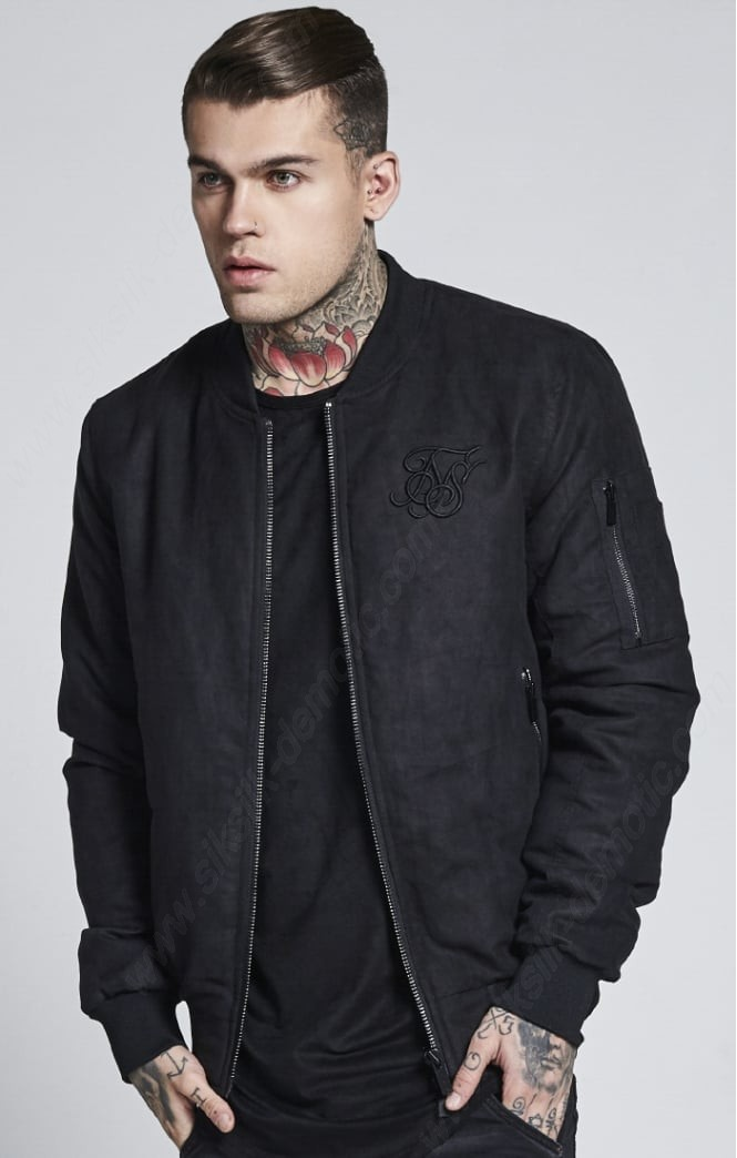 Siksilk Suede Bomber – Black Coats Mens - Siksilk Suede Bomber – Black Coats Mens